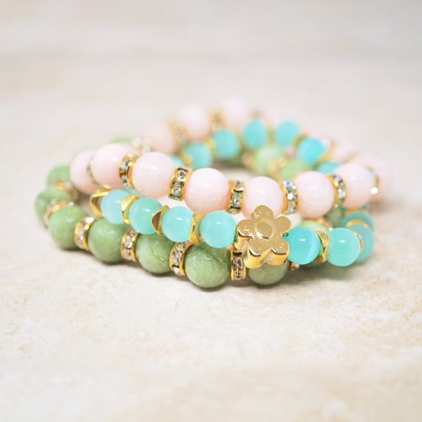 Pale Peach Jade Gemstone Bracelet
