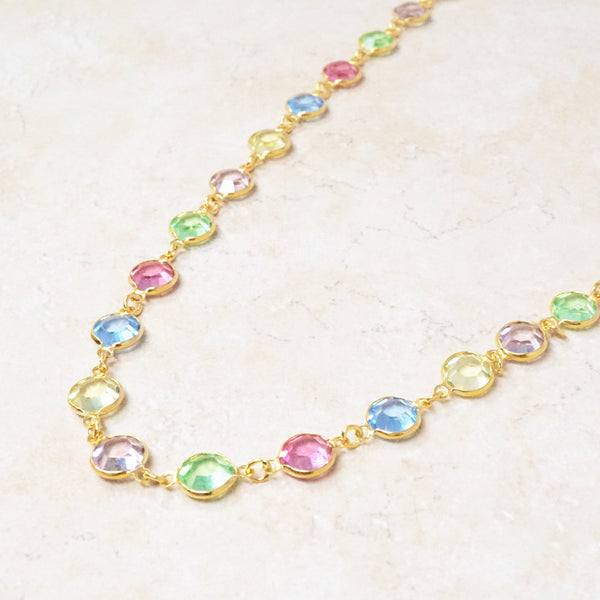 Pastel Swarovski Station Necklace