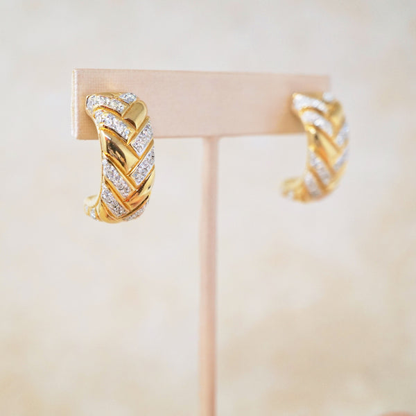 Braided Semi Hoops by Swarovski