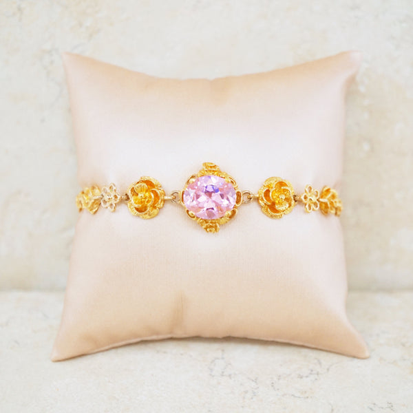 Gold Vermeil Rose Bracelet with Pink CZ Stone