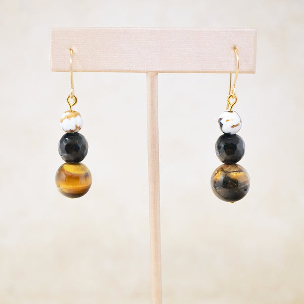 "Tiger's Eye, Onyx & Fire Agate ""Trois"" Earrings"