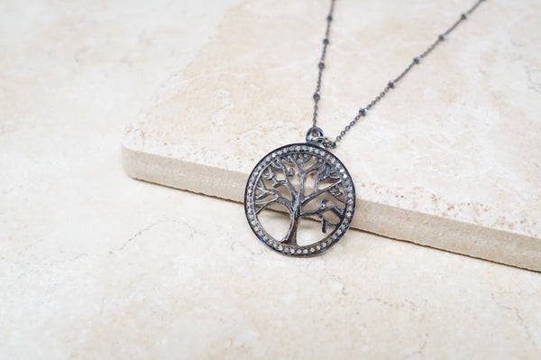 Diamond Pavé Tree of Life Necklace