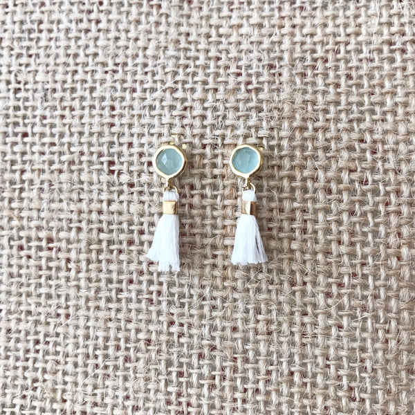 Mint Tassel Earrings by Anthologie