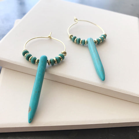 Turquoise Spike Hoops by Anthologie