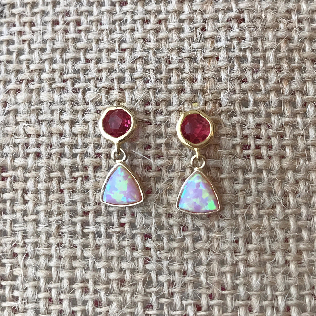 Pink Opal Earrings