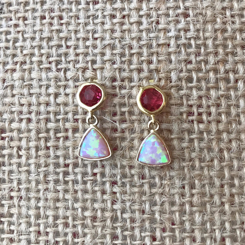 Pink Opal Earrings by Anthologie