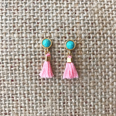 Turquoise Tassel Earrings by Anthologie