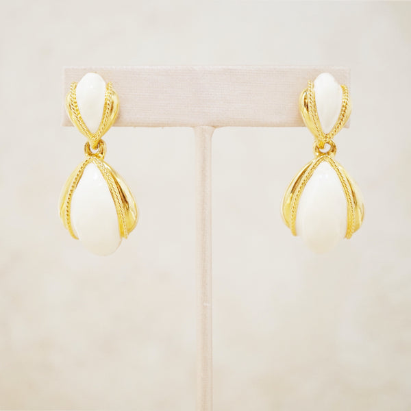 Vintage Gilt & Cream Enamel Dangle Earrings by Anne Klein, 1980s