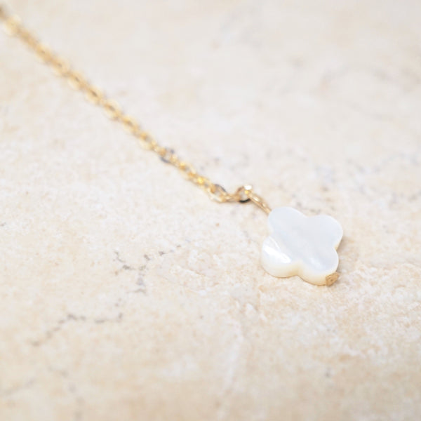 Mother of Pearl & Crystal Y Necklace