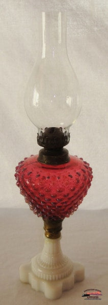 1860-70S Cranberry Opalescent Hobnail Boudoir Style Oil Lamp General Store & Lighting