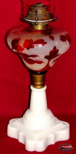 1860S-70S Ruby Stained & Frosted Atterbury Kerosene Lamp General Store Lighting