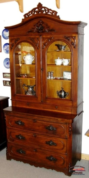 1860S Victorian Walnut Bookcase Secretary Furniture