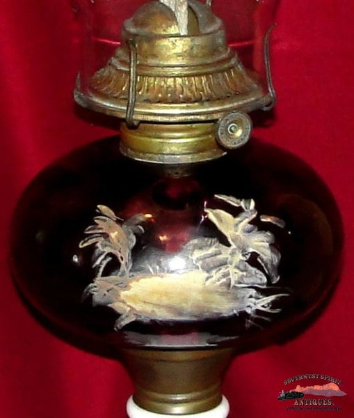 1870S-80S Atterbury Amethyst Coin Dot Oil Lamp General Store & Lighting