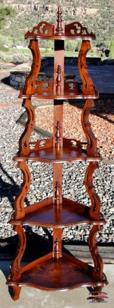 1880S Victorian Mahogany Corner Etagere What Not Shelf Furniture