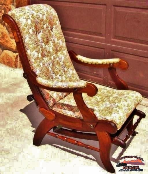 1880S Walnut Sleepy Hollow Reclining Chair W/foot Rest Furniture