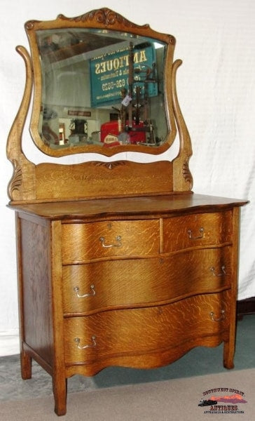 1890-1900 Oak Dresser W/ Serpentine Front Furniture