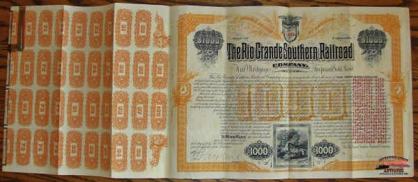 1890 Rio Grande Southern Railroad $1 000.00 Gold Bond Signed By Otto Mears Railroadiana