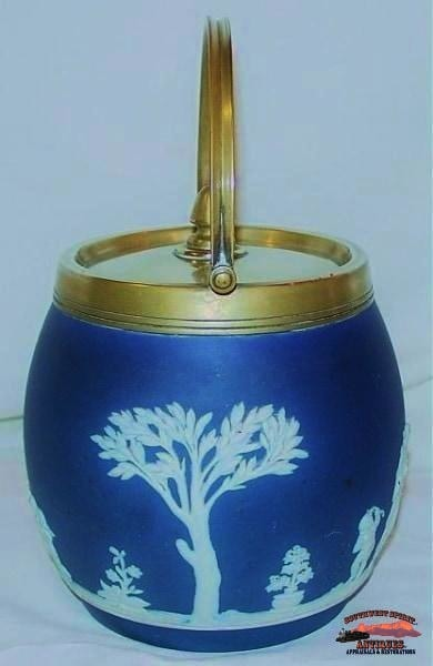 1890S Dark Blue Wedgwood Classical Biscuit Jar Glassware-China-Silver