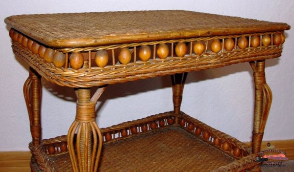 1890S Heywood & Morill Rattan Co. Wicker Table Furniture