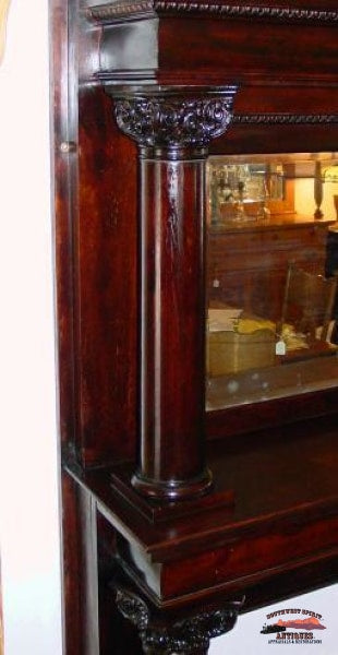 1890S Mahogany Fireplace Mantle W/ Bevelled Glass Furniture
