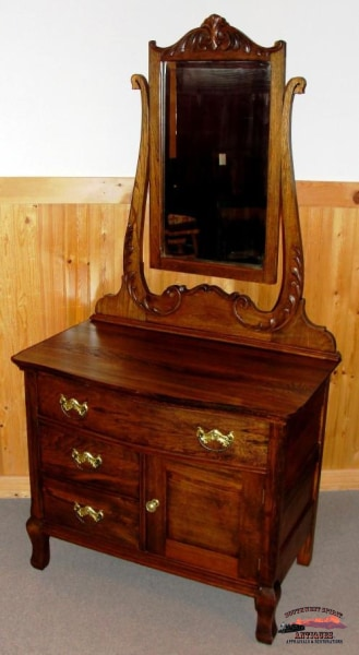 1890S Oak-Ash Hotel Commode Dresser W/ Applied Carving Furniture