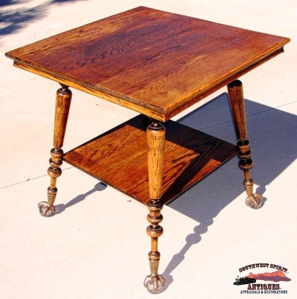 1890S Oak Parlor Table W/large Claw & Glass Ball Feet Furniture