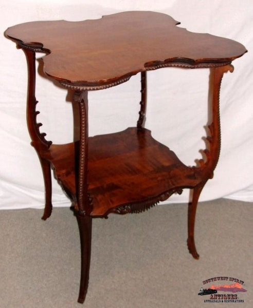 1890S Ornate Cherry Parlor Table W/ Applied Carving Furniture