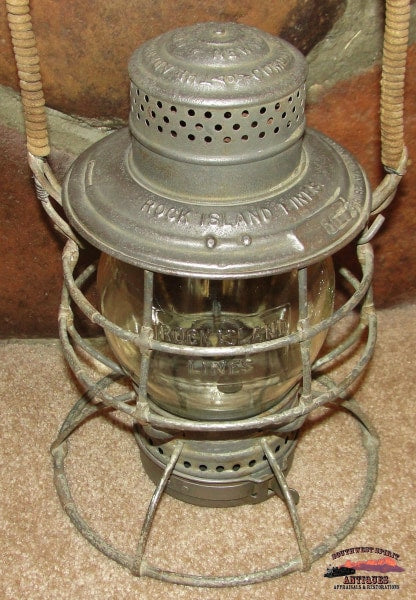 1895 Rock Island Lines A&w Twist Off Fount Lantern With Clear Cast 1902 Corning Globe Railroadiana
