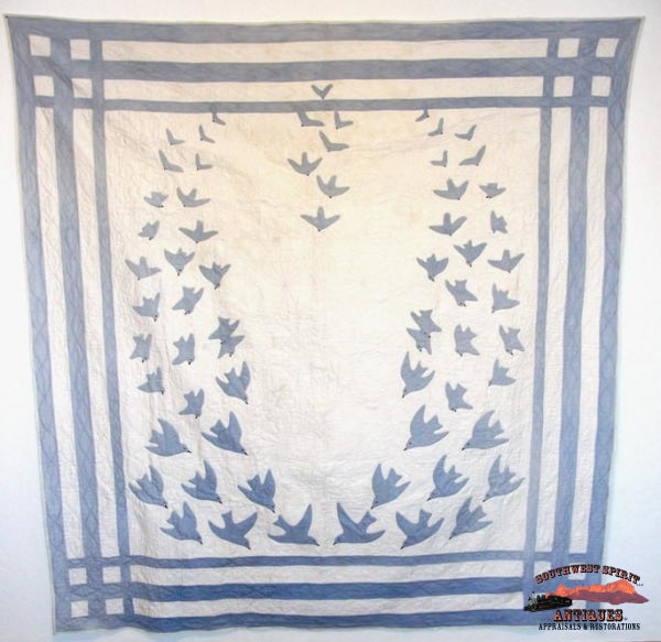 1917 Hand Stitched Blue Birds Of Happiness Quilt Collectibles-Toys-Games