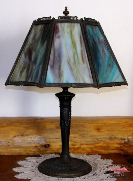 1920S Blue-Lavender 8 Panel Slag Glass Table Lamp General Store & Lighting