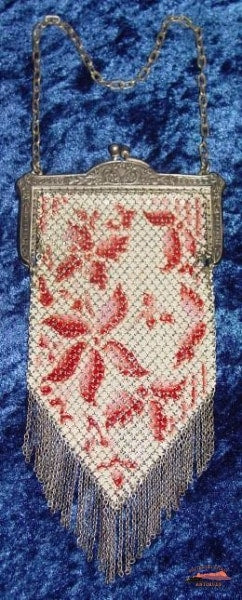 1920S Mandalian Rose Floral Enamel Mesh Purse Collectibles-Toys-Games