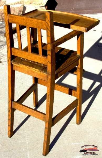1920S Oak Mission Style High Chair Furniture