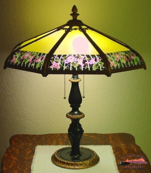1920S Reverse Painted 22In. D. Bent 8 Panel Table Lamp General Store & Lighting