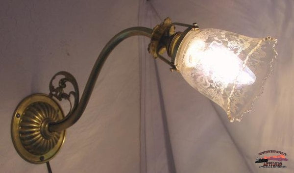 1920S Wall Lamp W/acid Etched Shade General Store & Lighting