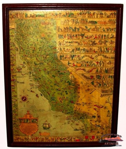 1927 Joseph Jo Mora Pictorial Map Of California Collectibles-Toys-Games