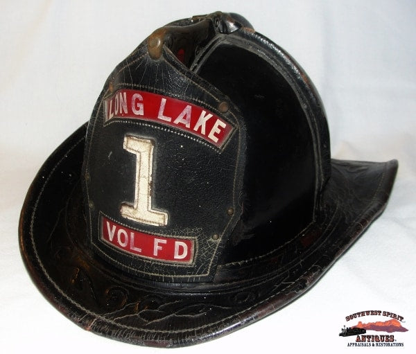 1932 Long Lake New York Embossed Leather Volunteer Firemans Helmet Collectibles-Toys-Games