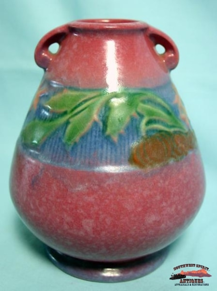 1933 Roseville Baneda Raspberry Vase Glassware-China-Silver