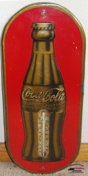 1938 Oval Coca Cola Christmas Thermometer General Store & Lighting