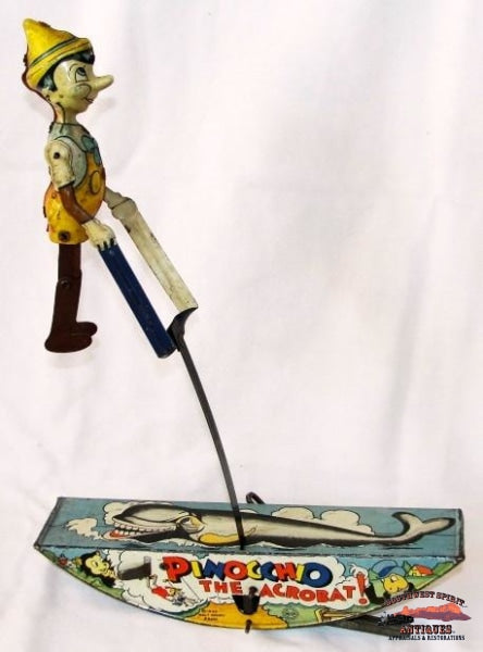 1939 Marx Co. Pinocchio The Acrobat Tin Wind-Up Toy Collectibles-Toys-Games