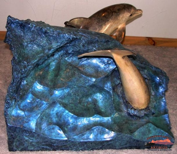 1992 Bronze Robert Wyland Dolphin Experience Sculpture Table Furniture
