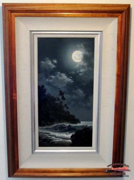 1995 Original Oil Painting Moonlit Calm By Roy Tabora Collectibles-Toys-Games