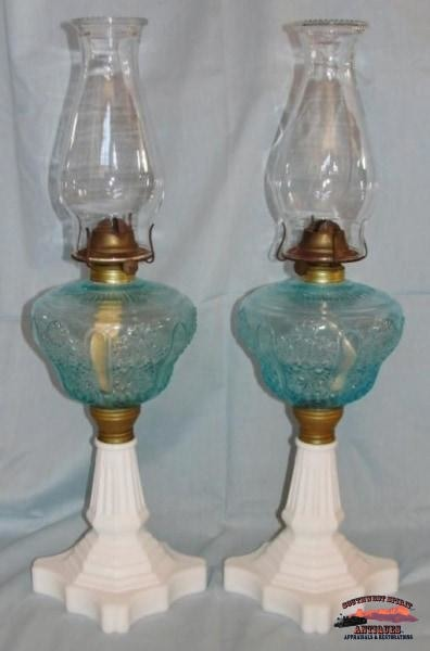 2 Matching 1870S Blue Daisy & Button Pattern Banquet Oil Lamps General Store Lighting