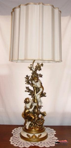 Art Nouveau L & F Moreau Signed French Figural Lamp General Store Lighting