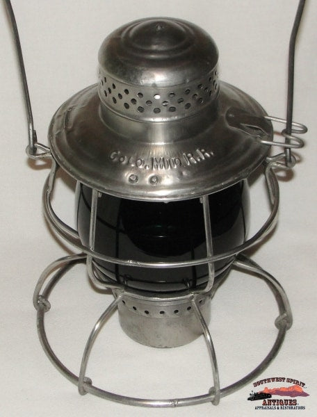 Colorado Midland Railroad Handlan Lantern With Green Extented Base Unmarked Globe Railroadiana