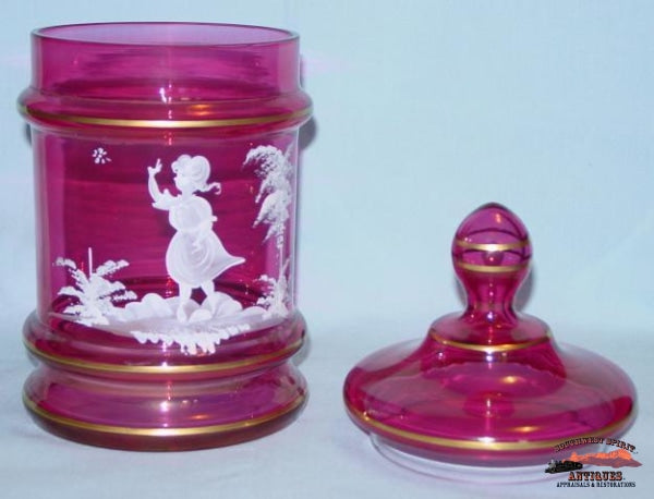 Cranberry Mary Gregory Humidor W/ Lid Glassware-China-Silver