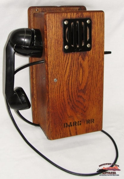 Denver & Rio Grande Railroad Depot-Dispatch Oak Wall Mount Telephone Railroadiana