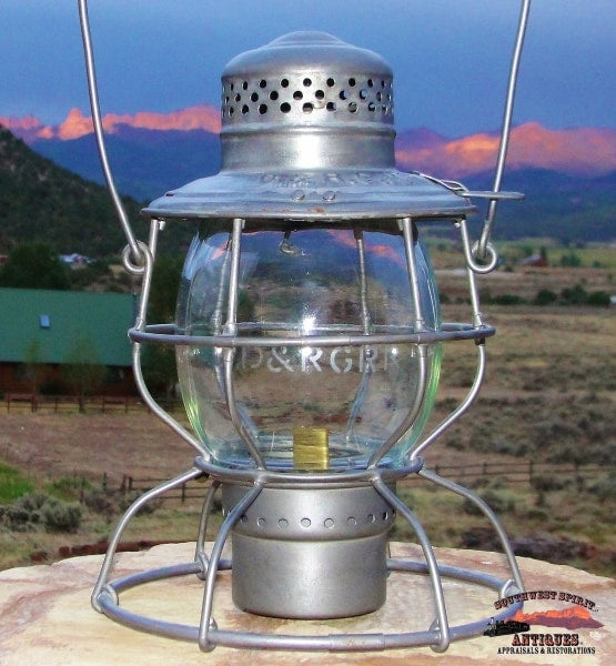 D&rg Railroad Handlan Round Top Lantern With Clear Etched Tall Melon Globe Railroadiana