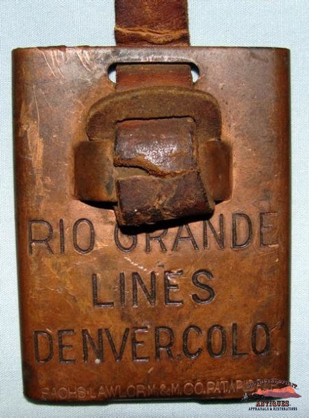 Early 1900S Rio Grande Lines Brass Baggage Tag Railroadiana