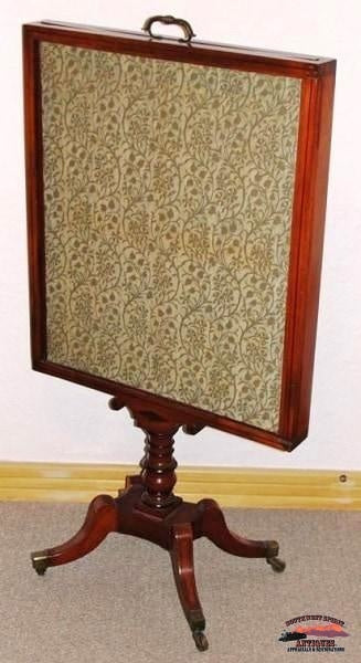 English Regency Period Fire Screen W/fortuny Fabric Furniture