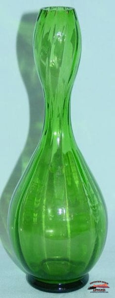 Mary Gregory Green 6 3/4 Tall Bud Vase Glassware-China-Silver